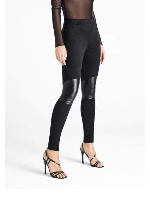 Wolford Ready To Wear By Wolford Wolford Passion Beat Velour and Faux Leather Leggings izzi-of-baslow