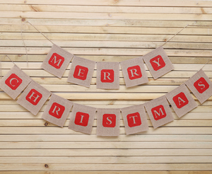 Christmas Party Decoration Burlap Banner Hanging Flag