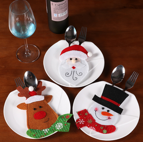 Christmas Ornaments Santa Claus Moose Snowman Table Cutlery Holder Bag Set