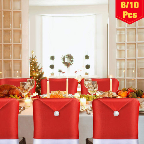 Christmas Chair Covers Set of 6/10 Pcs for Dining Rooms Xmas Decor