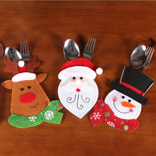 Load image into Gallery viewer, Christmas Ornaments Santa Claus Moose Snowman Table Cutlery Holder Bag Set
