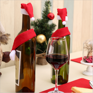 Creative Christmas Mini Scarf Hat Wine Bottle Decoration Set