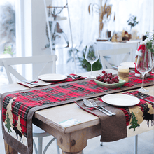 Load image into Gallery viewer, Christmas Cotton and Linen Lattice Creative Table Flag  Decoration