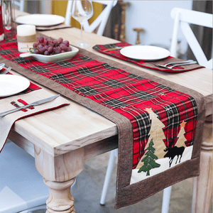 Christmas Cotton and Linen Lattice Creative Table Flag  Decoration
