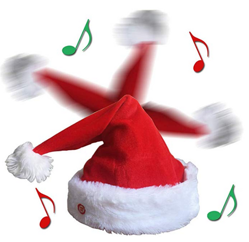 Dancing & Singing Moving Christmas Hat Plush Red Xmas Party Hat Decor Gifts