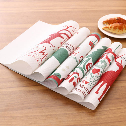 Christmas Party Placemats Waterproof Table Mats Decoration (4PCS)