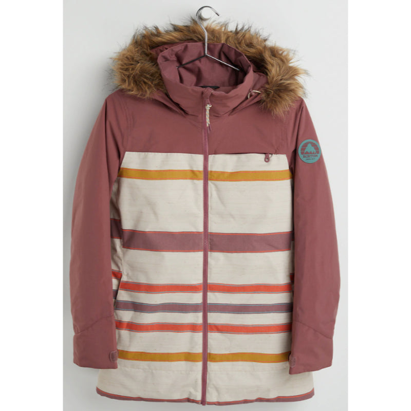 Burton Lelah Jacket Womens - Rose Brown / Creme Brulee Woven Stripe