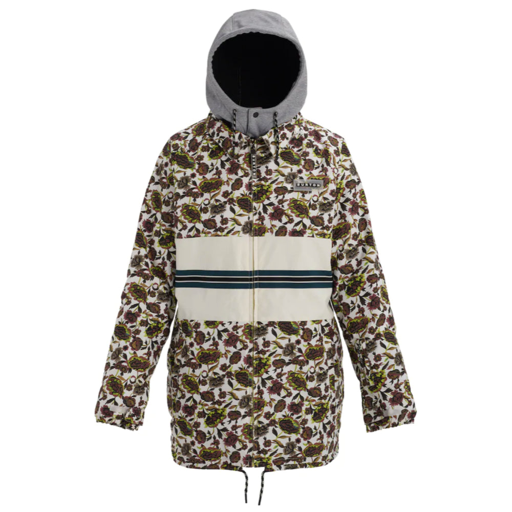 Burton Loyle Coaches Jacket Womens - White Floral/Stout White