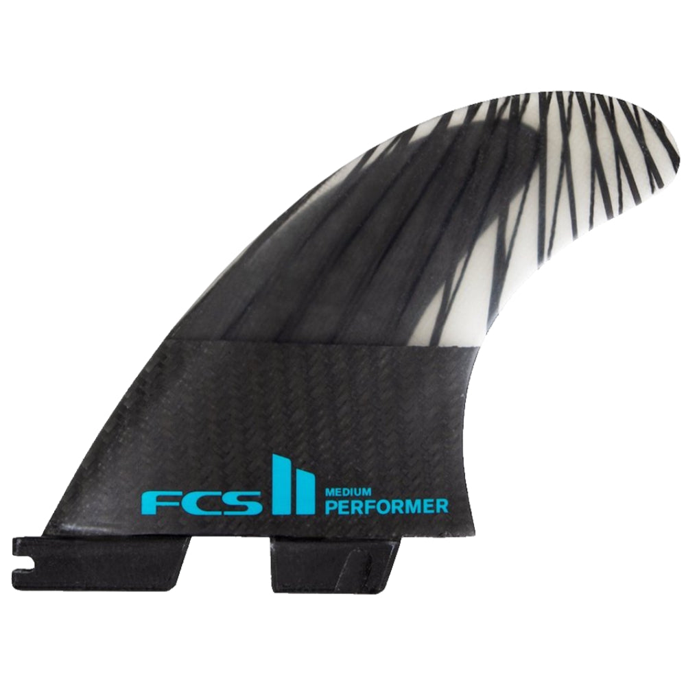 FCS II Performer PC Carbon Black/Teal Tri Fins - Large - STOCK INSTORE ONLY - CALL OR EMAIL