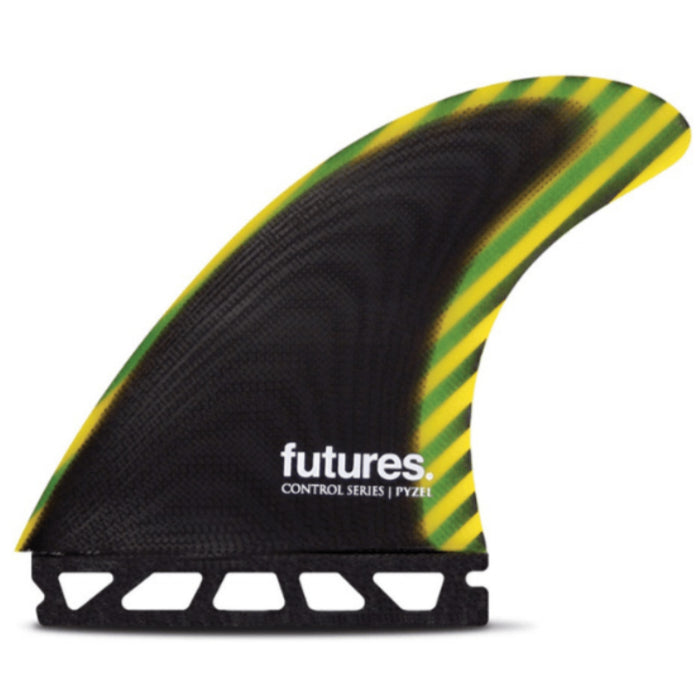 Futures Pyzel Large Control Series Fiber Glass Thruster - Black/Yellow
