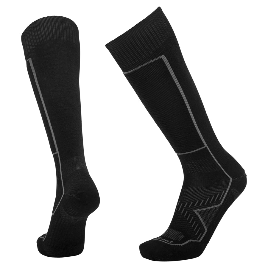 Le Bent Snow Ultra Light Ski Sock - Black