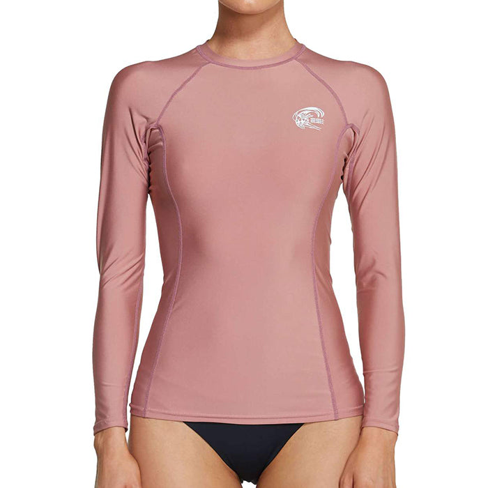 Oneill Basic Skins L/S Crew Rash Shirt - Womens - Antique Rose