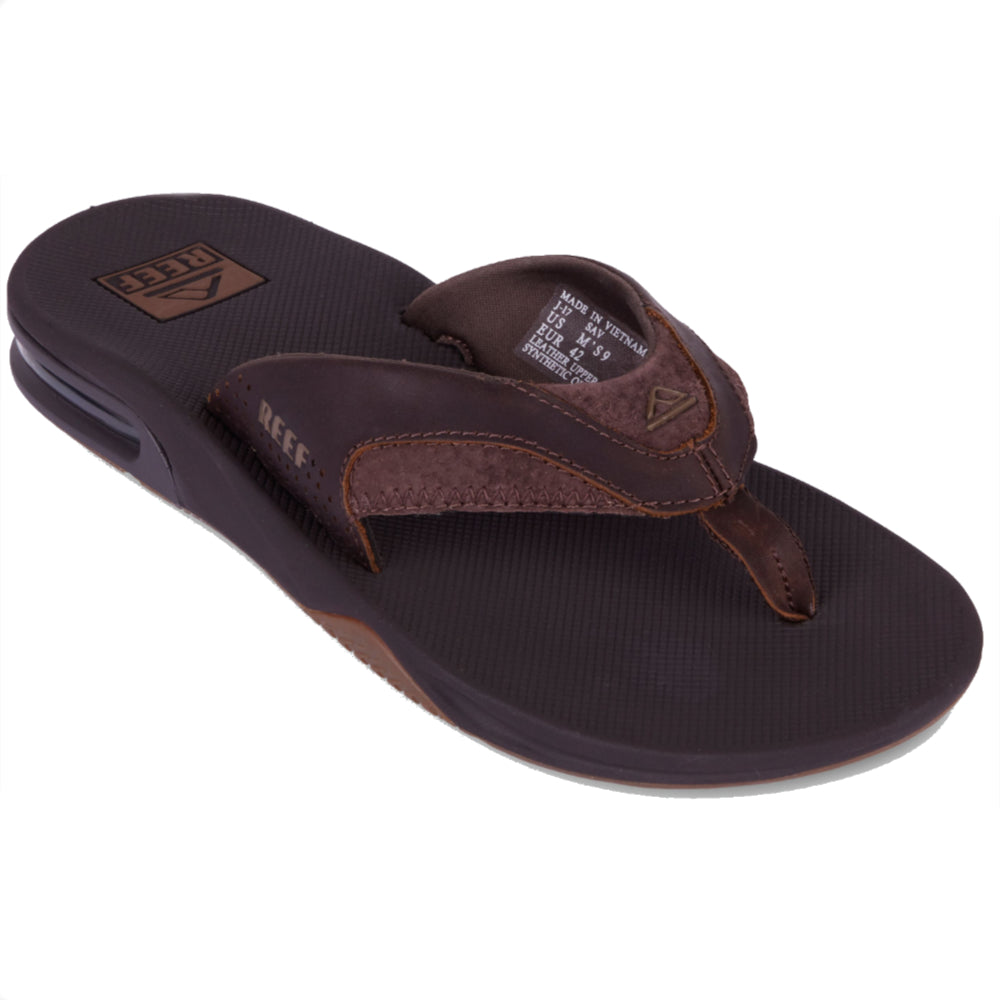 Reef Leather Fanning Low Mens Sandal - Dark Brown