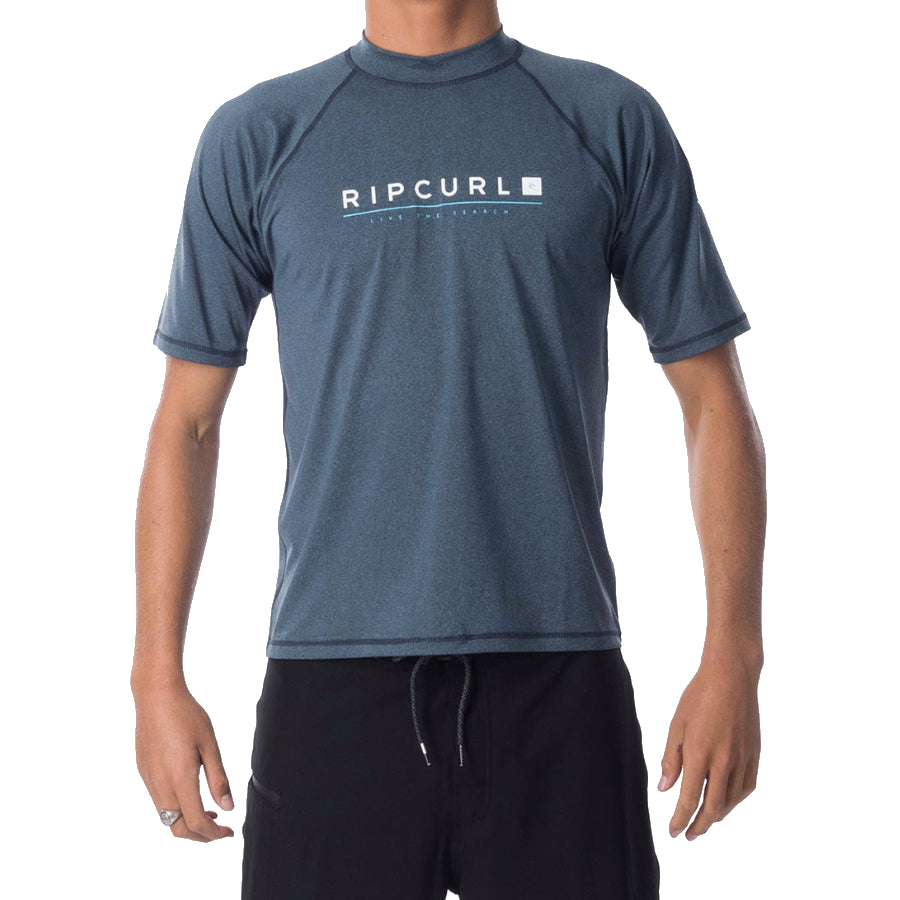 Rip Curl Shockwave Relaxed S/S UVT Rashie Mens - Grey/Blue