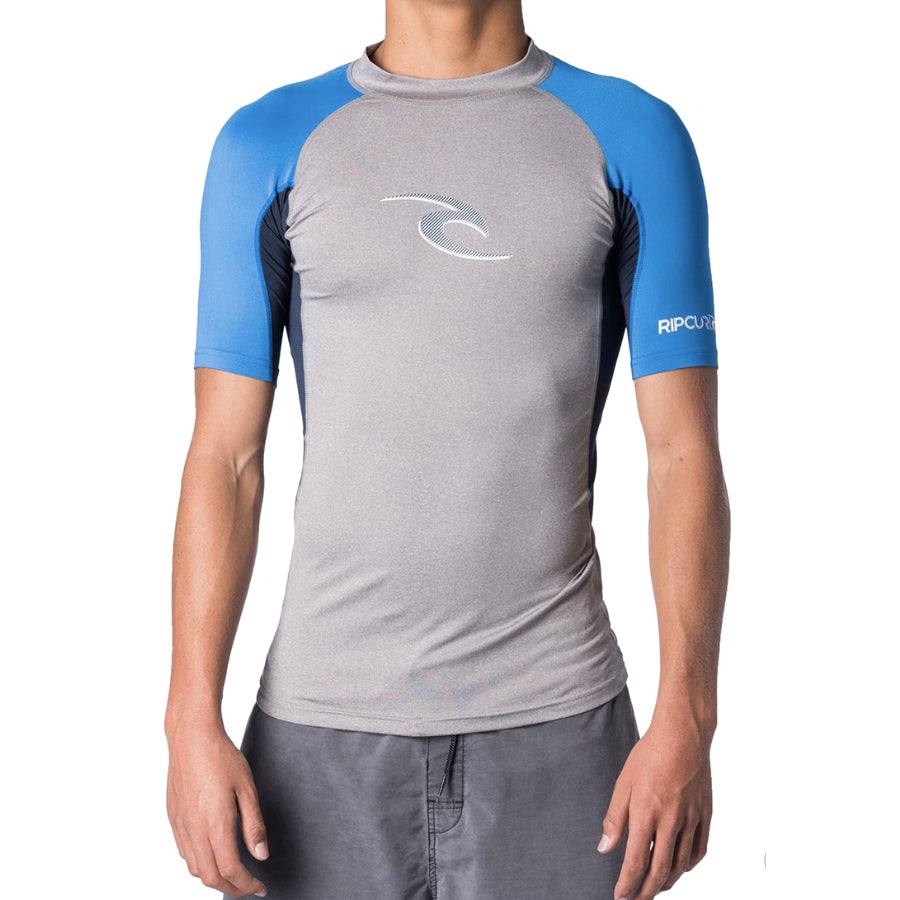 Rip Curl UV Wave S/S Rashie - Youth - Light Grey Heather