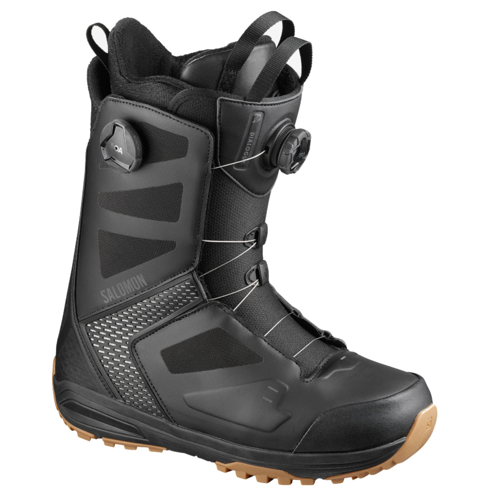 Salomon Dialogue Focus Boa Wide Snowboard Boots Mens - Black/Black/Grey Violet