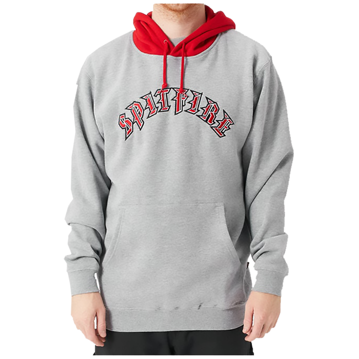 Spitfire Old E Blocked Hoodie - Mens - Grey Heather/Red