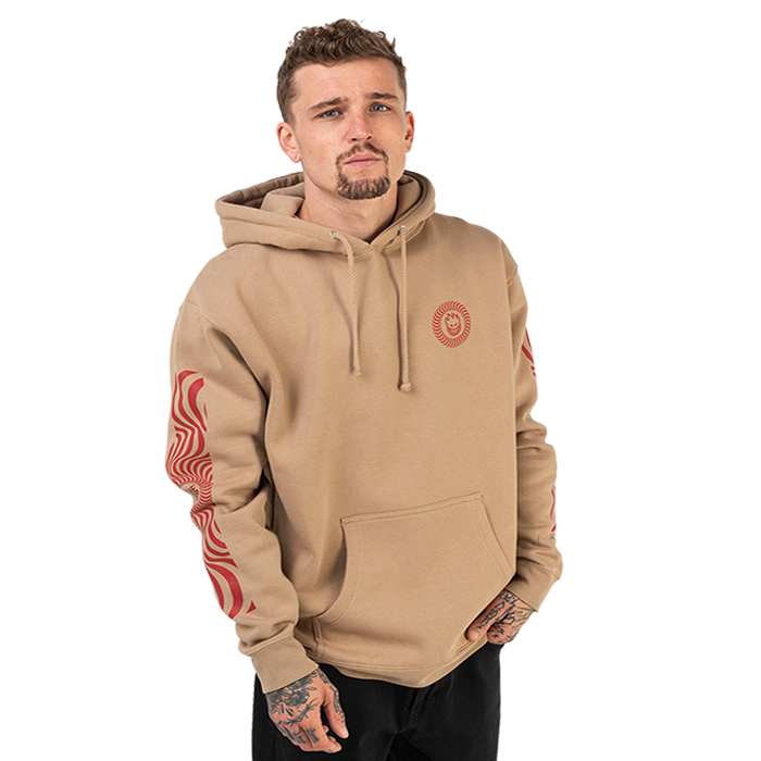 Spitfire Classic Swirl Sleeve Hoodie - Mens - Sand/Red