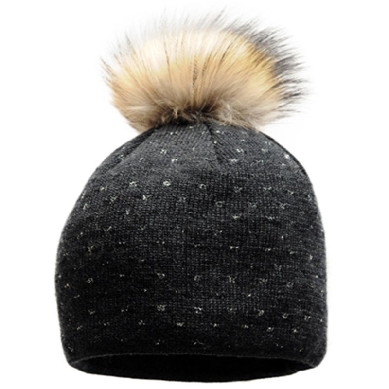 Starling Imagine Real Fur Pom Beanie - Black