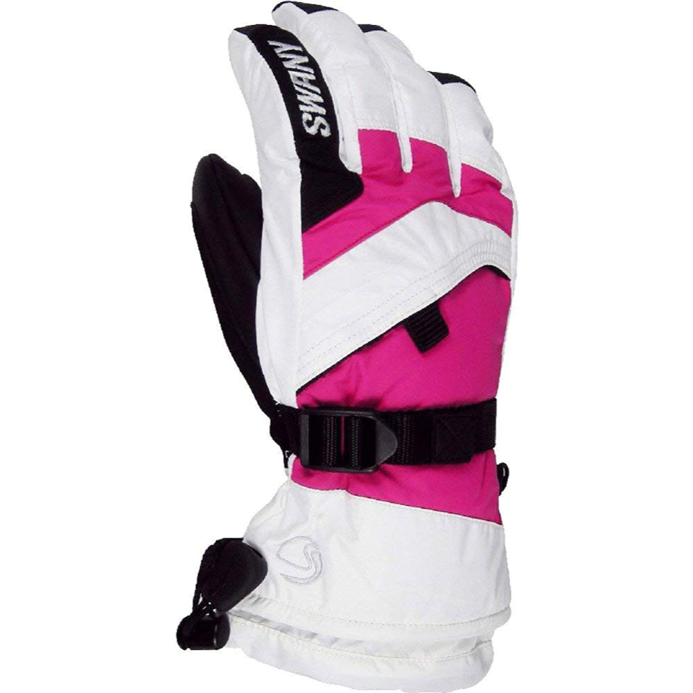 Swany X-Over Gloves Juniors - White/Magenta