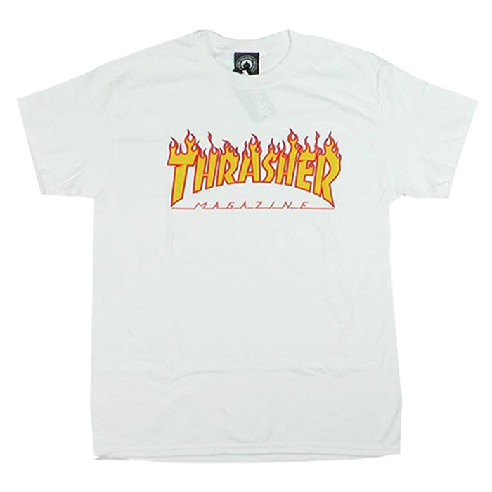 Thrasher Flame Tee - White
