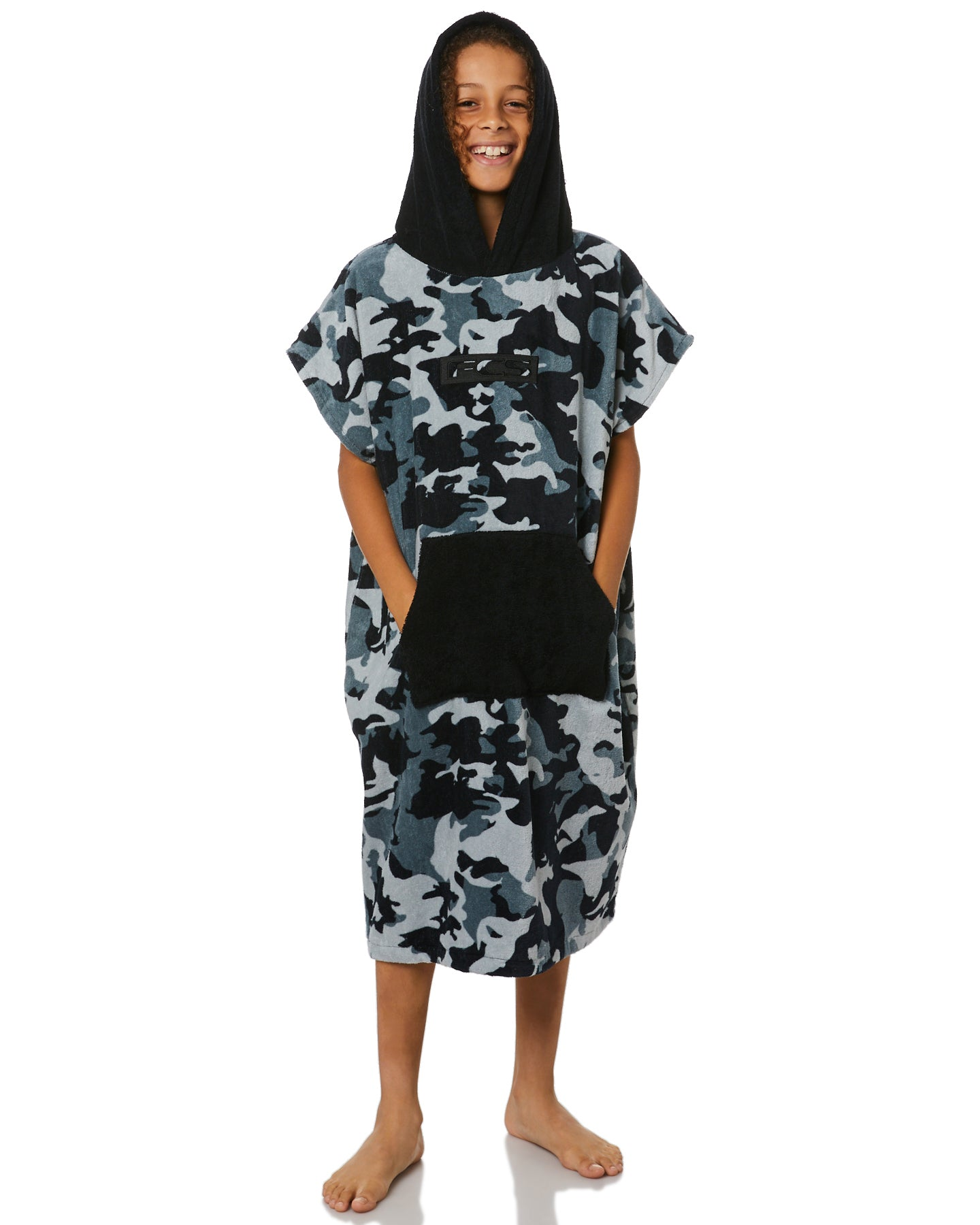 FCS Towel Poncho - Grey Camo/Black