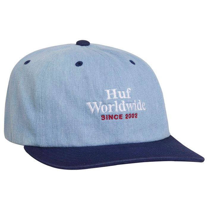 Huf Worldwide Denim 6 Panel Cap - TWI Blue