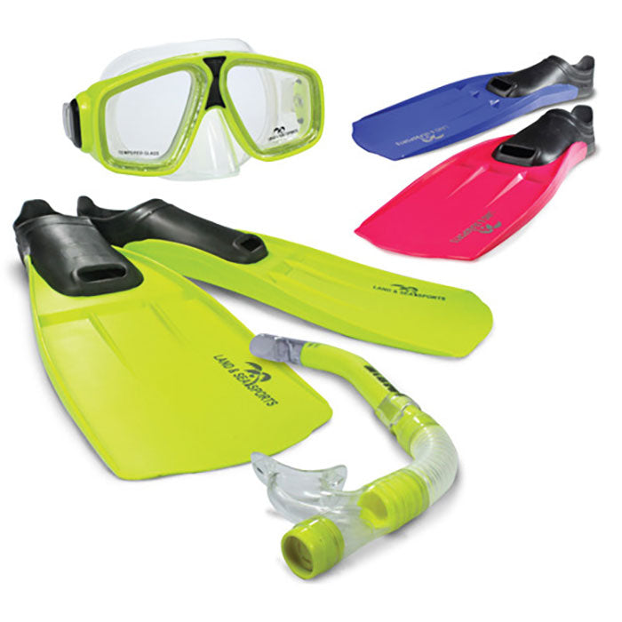 Land & Sea Adventurer Mask Snorkel And Fin Set - Medium - Pink