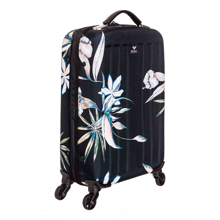 Roxy Stay True Wheeled Cabin Travel Suitcase - True Black Delicate Flowers