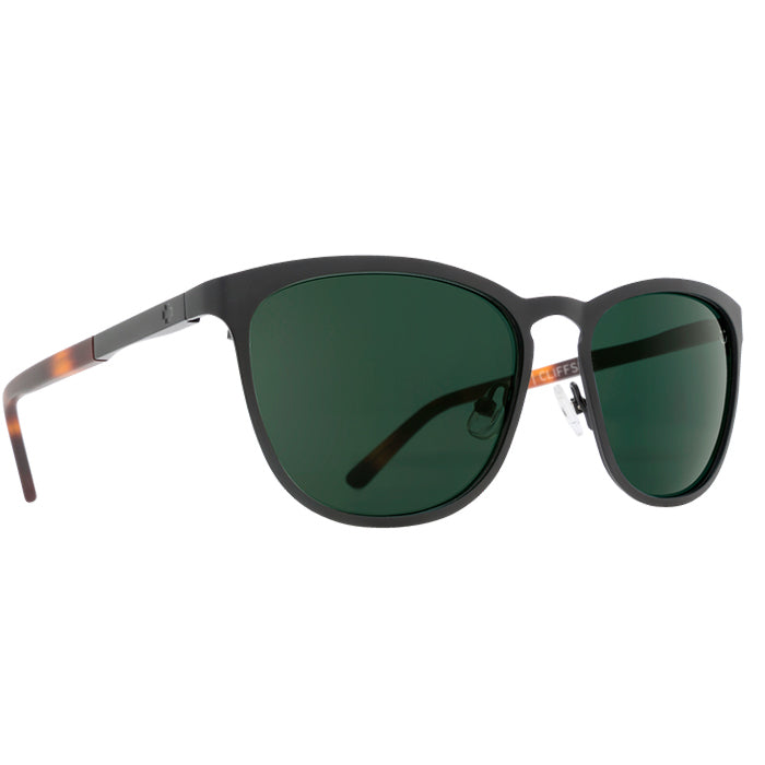 Spy Cliffside Matte Black/Matte Honey Sunglasses - Happy Grey Green