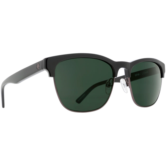 Spy Loma Black/Matte Gunmetal Sunglasses - Happy Grey Green