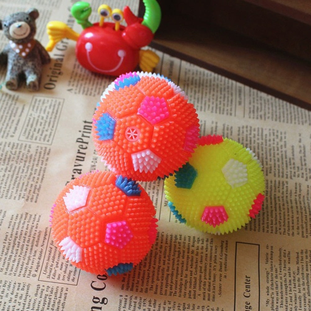 2x Colorful Flashing Squeaky Dog Toy Ball