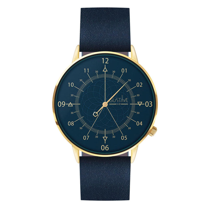 Gustave Montre Louis Blue & Gold - Blue Leather