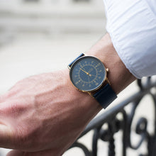 Load image into Gallery viewer, Gustave Montre Louis Blue & Gold - Blue Leather