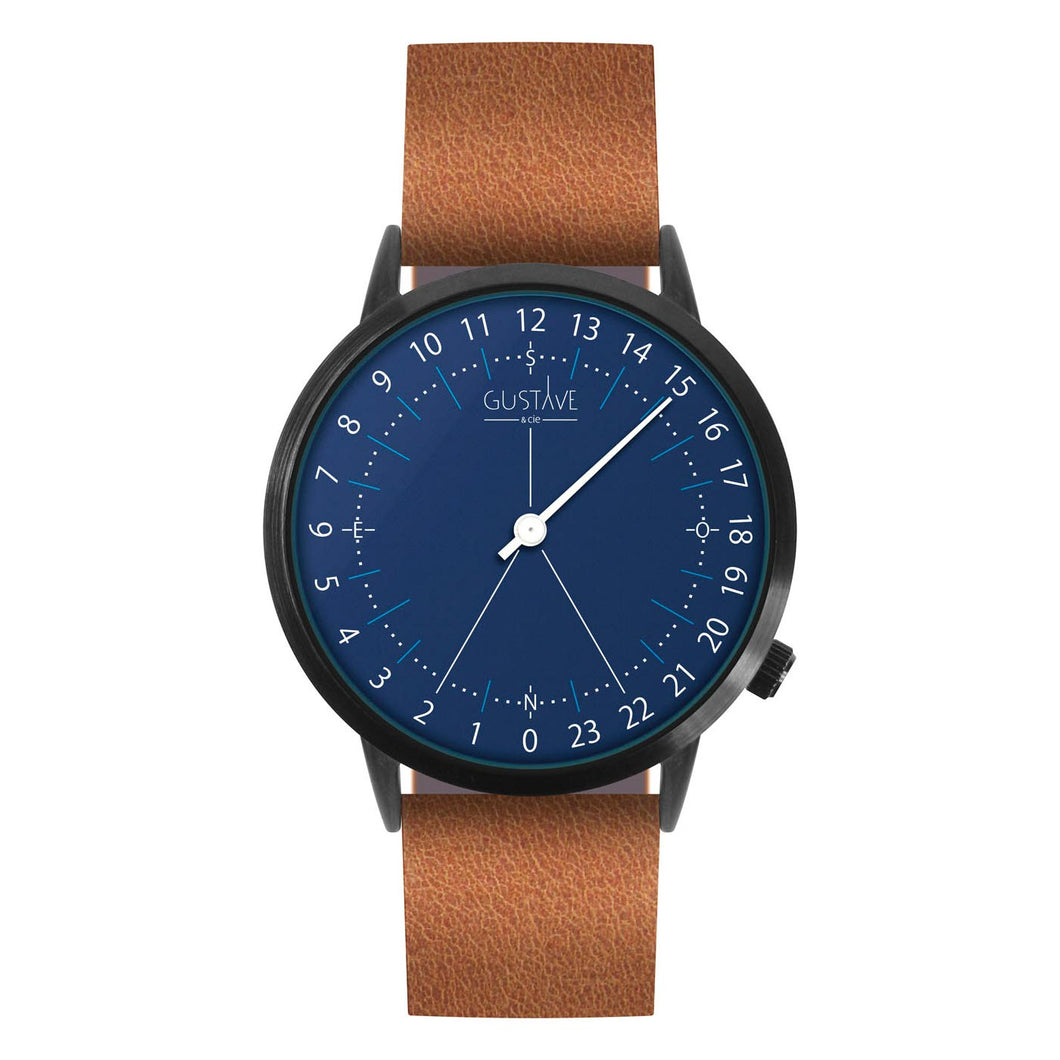 Gustave Montre 24H Blue - Brown Leather