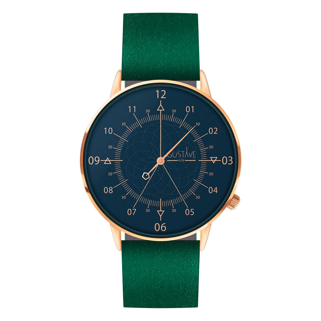 Gustave Montre Louis Blue & Pink Gold - Green Leather
