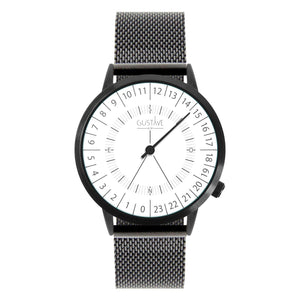 Gustave Montre 24H White - Black Milan