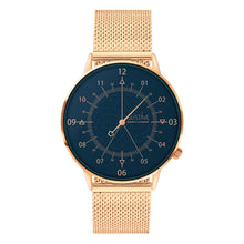 Load image into Gallery viewer, Gustave Montre Louis Blue & Gold Rose - Rose Gold Milan
