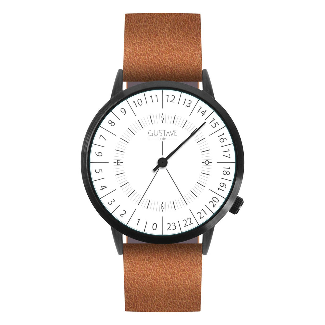 Gustave Montre 24H White - Brown Leather