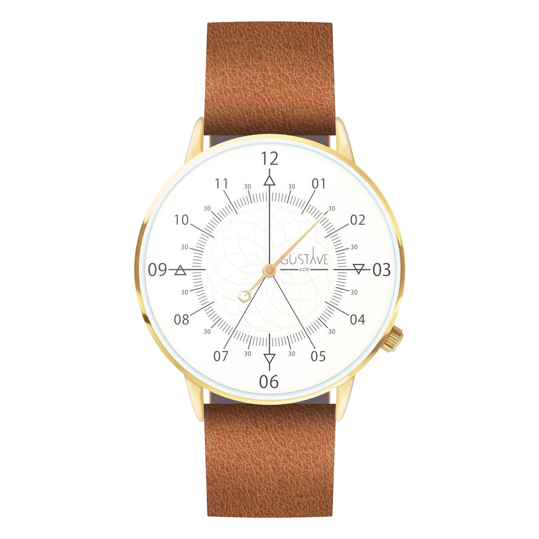 Gustave Montre Louis White & Gold - Brown Leather