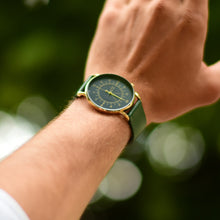 Load image into Gallery viewer, Gustave Montre Louis Blue & Gold - Green Leather