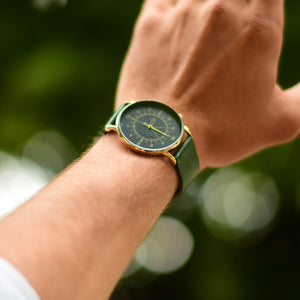 Gustave Montre Louis Blue & Gold - Green Leather