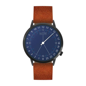 Gustave Montre 24H Blue - Brown Nubuck Leather