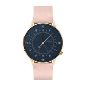 Gustave Montre Louis Blue & Gold Rose - Light Pink Leather