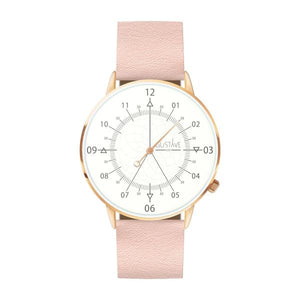 Gustave Montre Louis White & Rose Gold - Light Pink Leather
