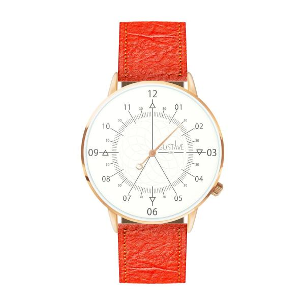 Gustave Montre Louis White & Rose Gold - Coral Pineapple Fiber