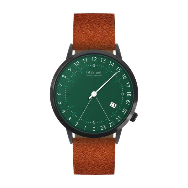 Gustave Montre 24H Green - Brown Nubuck Leather