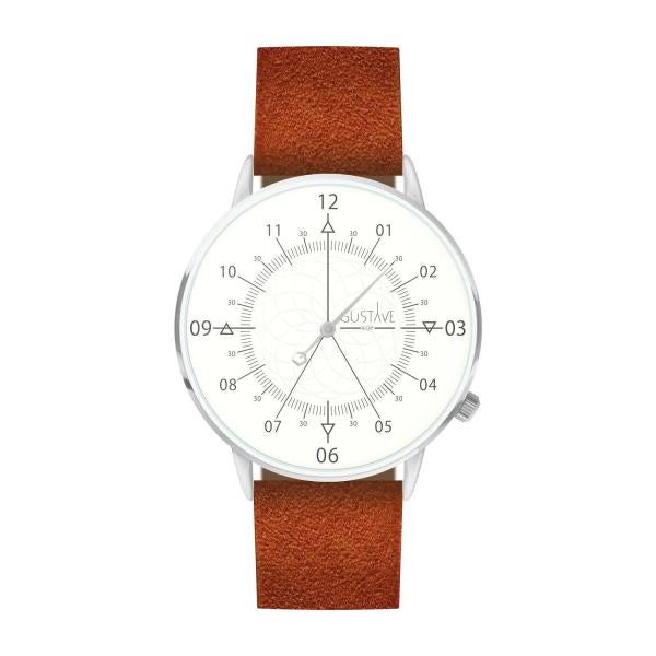 Gustave Montre Louis White & Silver - Brown Nubuck Leather