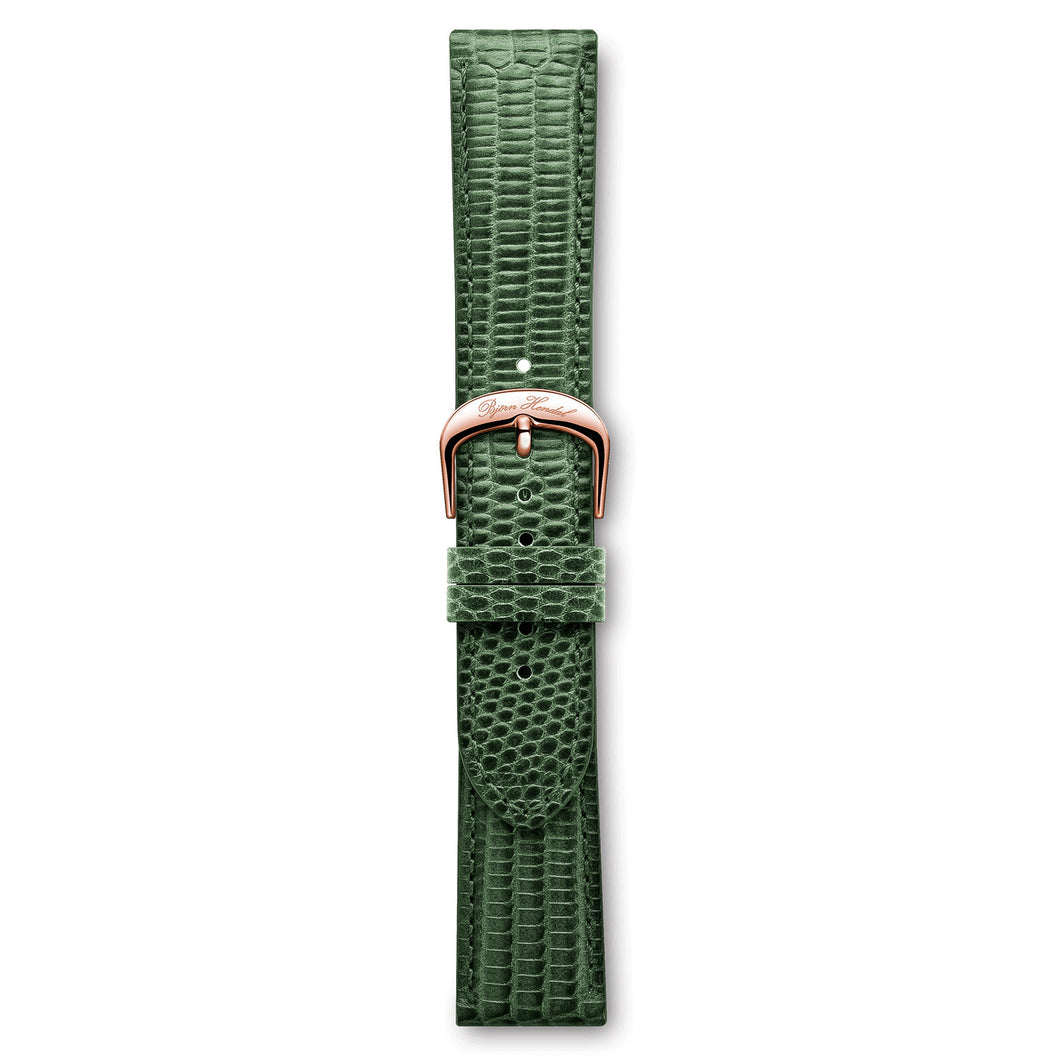 Italian Leather Strap Lizard Green Rose Buckle | Björn Hendal