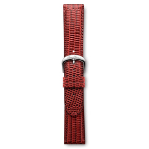 Italian Leather Strap Lizard Red Steel Buckle | Björn Hendal